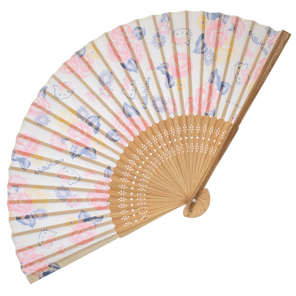 14161 sanrio hello kitty traditional wooden fan white  rose pattern
