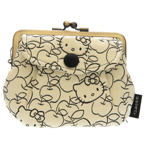bd3fb390258c 14174 sanrio hello kitty coin purse light yellow apple pattern ...