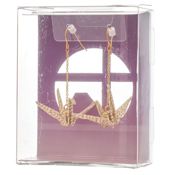 14275 origami crane earrings   white  gold  seigaiha wave