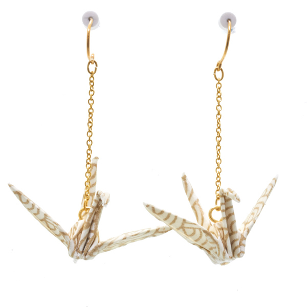 14275 japanese origami earrings   gold  seigaiha wave 2