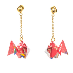 14280 japanese origami earrings   goldfish