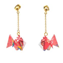 14280 japanese origami earrings   goldfish