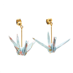 14277 japanese origami crane earrings   kyoto limited edition