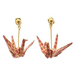 14279  japanese origami crane earrings   red kanoko