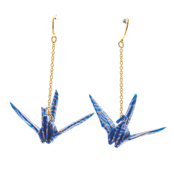 14281 japanese origami long chain dangling earrings