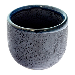 11615 ceramic sake ochoko cup   black  mottled pattern
