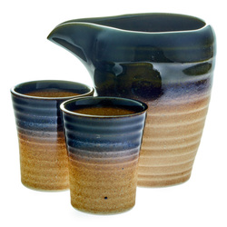 11606 ceramic cold sake set   green and brown