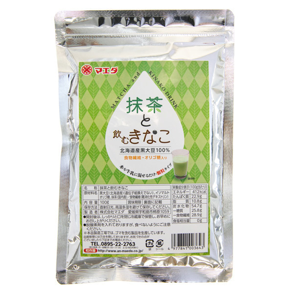 14344 maeda matcha and kinako soybean flour drink mix
