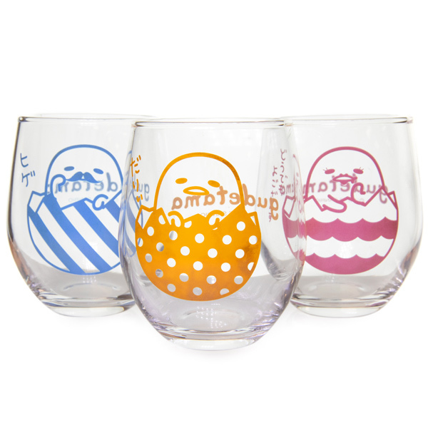 14393 sanrio gudetama drinking glass set   egg pattern