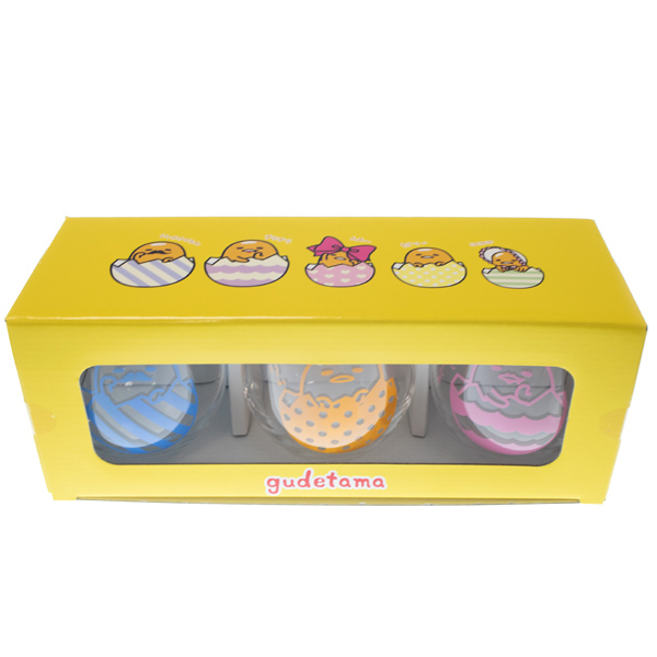 14393 sanrio gudetama lazy egg glass set   box