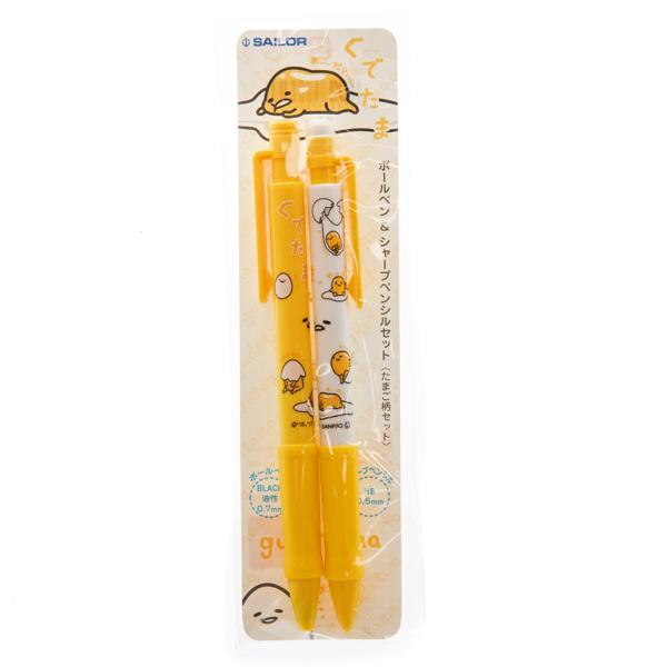 14397 sanrio gudetama ballpoint pen and mechanical pencil set   packaging
