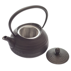 14430  traditional japanese cast iron tea pot with strainer from above