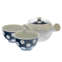14366 ceramic tea set   white  polka dot pattern