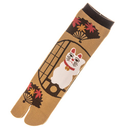 14415 japanese split toe socks  maneki neko lucky cat pattern