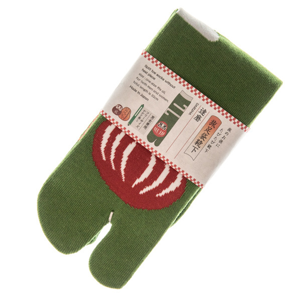 14417 japanese tabi split toe socks   daruma pattern  folded