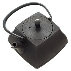 14429 itchu do cast iron tea pot   ishiniwa  square shaped