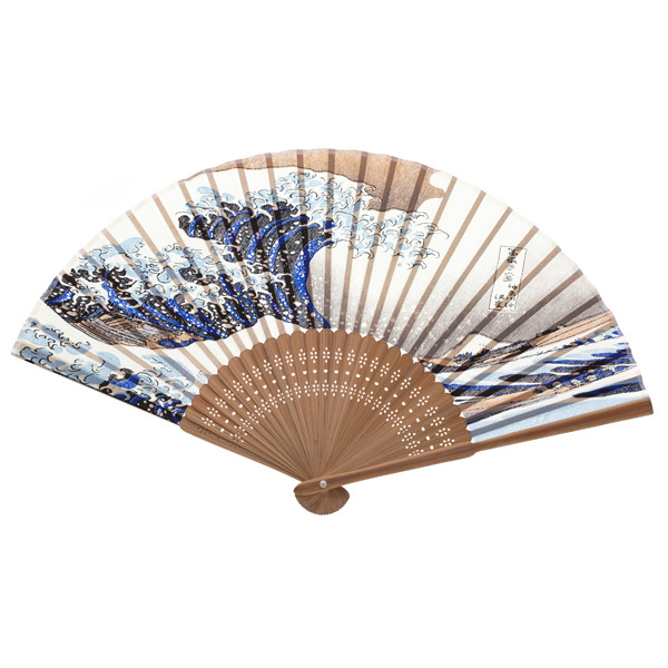 14464 traditional japanese wooden fan opened  hokusai great wave off kanagawa