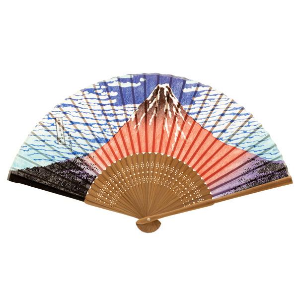 14463 traditional wooden fan   red mt. fuji print