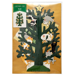 14497 sanrio greetings card pop up christmas tree   cats