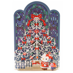 14519 sanrio greetings card   hello kitty merry christmas pop up christmas tree