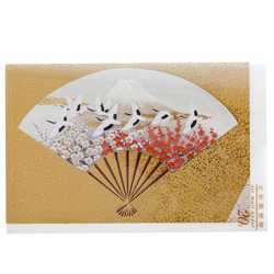 14478 hyogensha golden fan with mount fuji and cranes greeting card