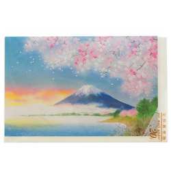 14468 peacock brand mount fuji with cherry blossom greeting card