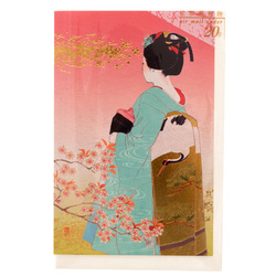 14474 peacock brand heian court maiden greeting card