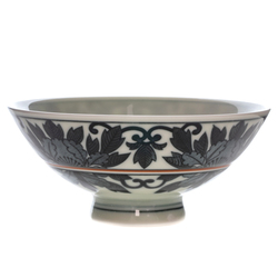14491 ceramic rice bowl   white and blue  floral pattern