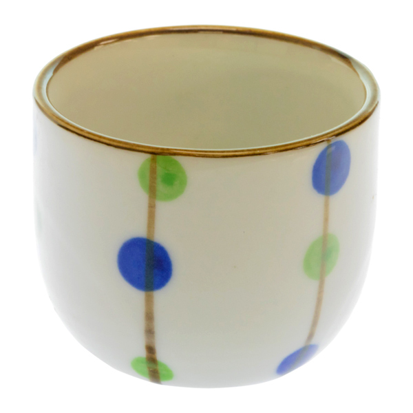 14561 ceramic sake ochoko cup   white  blue and green polka dots