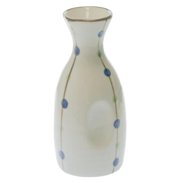 14563 ceramic sake server   white  blue and green polka dot pattern