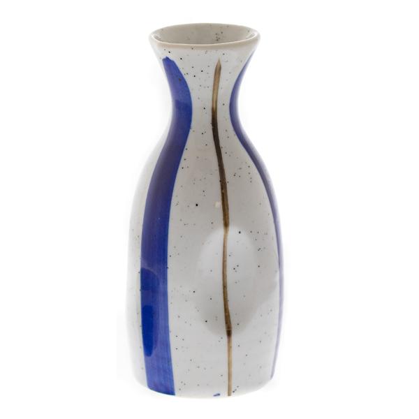 14562 ceramic sake server   white  thick blue and slim brown pattern