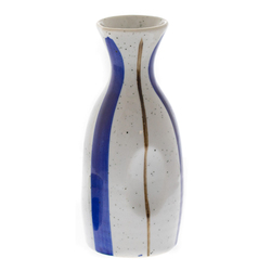 14562 ceramic sake server   white  thick blue and slim brown pattern