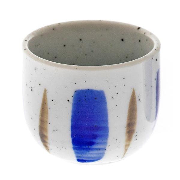 14559 ceramic sake ochoko cup   white  blue  brown stripes