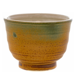 14512 ceramic tea cup   brown  dark green
