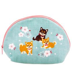 14588 zippered pouch   light blue  shiba inu pattern