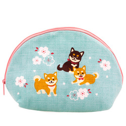 14588 zippered pouch   light blue  shiba inu pattern