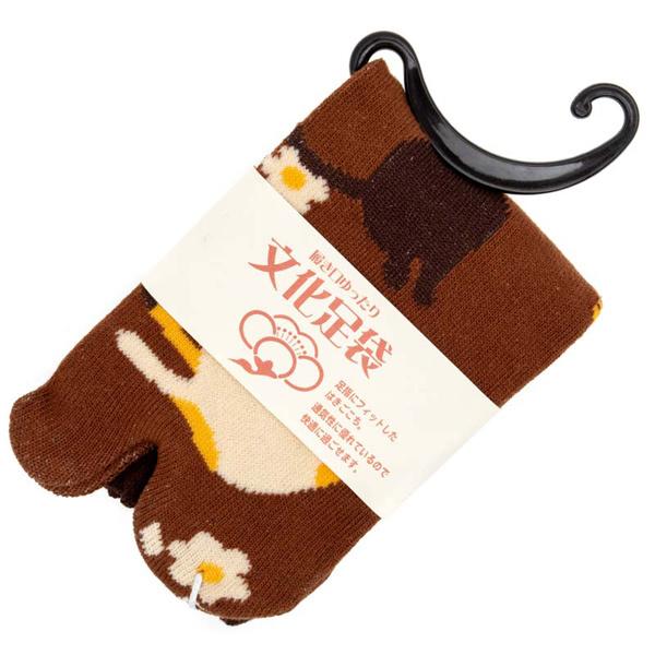 14595 women's japanese tabi socks   cat pattern