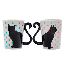 14641 artha ceramic pair of mugs   cat  polka dot pattern