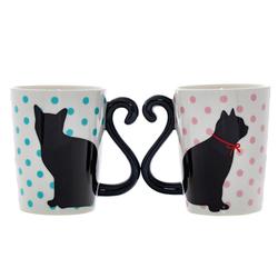 14641 artha ceramic pair of mugs   cat  polka dot pattern