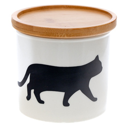 14642 artha ceramic silhouette canister   cat  walking