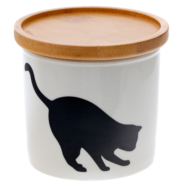14643 artha ceramic silhouette canister   cat  observing pose