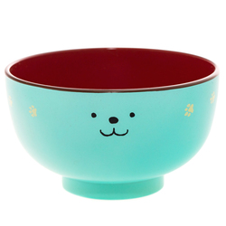 14637 hakoya miso soup bowl   blue  dog pattern