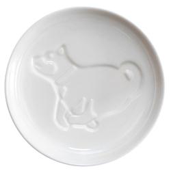 14629 artha ceramic soy sauce dish   shiba inu dog pattern  running