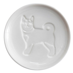 14631 artha ceramic soy sauce dish   shiba inu dog pattern  looking back