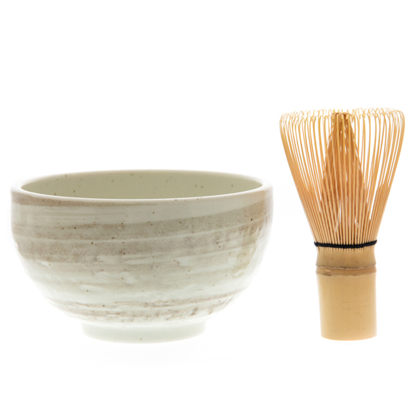 14690 matcha green tea ceremony set   white  beige brushtroke pattern