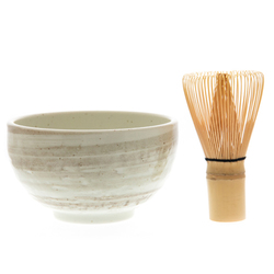 14690 matcha green tea ceremony set   white  beige brushtroke pattern