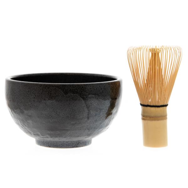 14688 matcha green tea ceremony set   black  speckled pattern