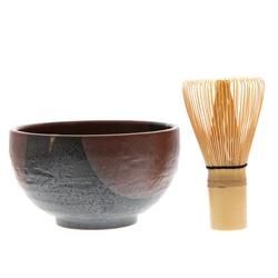 14689 matcha green tea ceremony set   rust red  black brushstroke pattern