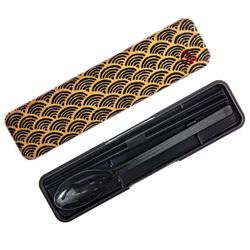 14639 hakoya chopsticks and spoon set with case   black  seigaiha wave pattern