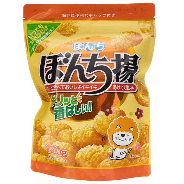 14772 bonchi soy sauce fried rice crackers   zipper pack